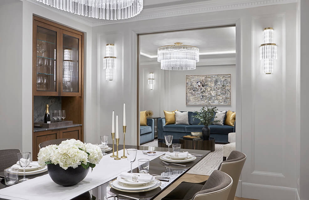 luxury London penthouse dining room with chandelier